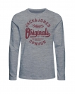 Jack & Jones Longsleeve JORHILLS TEE 12136204 Light Grey Melange W18-JJL1