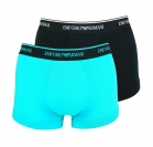 Emporio Armani 2er Pack Shorts Trunk Unterhose 111210 8P717 05320 NERO/TURCHESE W18-EAT1
