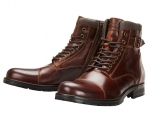 Jack & Jones Schuhe Boots Winterschuhe JFWALBANY LEATHER BROWN STONE 12140938 SH18-JJB1